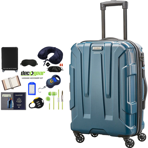 Samsonite Centric Hardside 28` Luggage, Teal + 10pc Luggage Accessory Kit