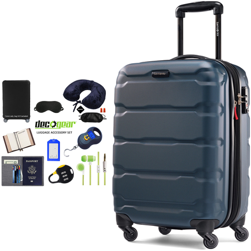 Samsonite Omni Hardside Luggage 20` Spinner Teal + Luggage Accessory Kit