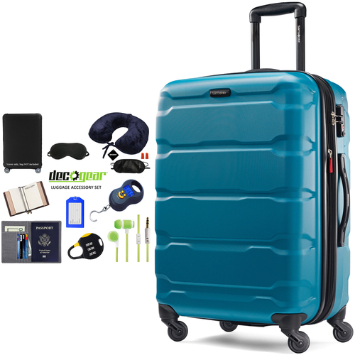 Samsonite Omni Hardside Luggage 28` Spinner Caribbean Blue+Luggage Accessory Kit