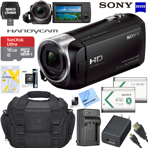 Sony HD Video Handycam Camcorder 16GB Camera Bag Accessory Bundle HDR-CX405/B