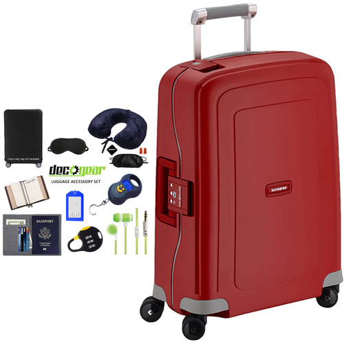 Samsonite S'Cure 20` Zipperless Spinner Luggage Red + Luggage Accessory Kit