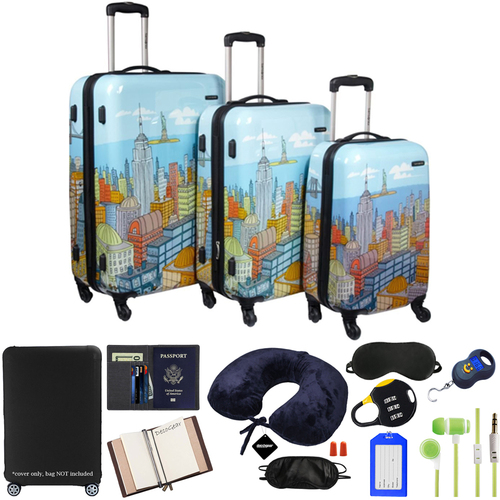 Samsonite CityScapes NYC 3pc Premium Spinner Luggage Set w/ 10pc Accessory Kit