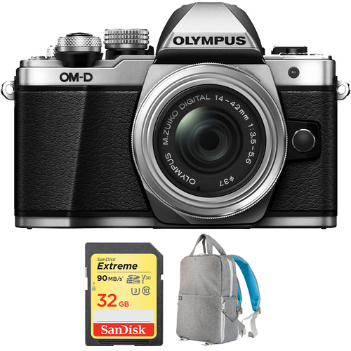 Olympus OM-D E-M10 Mark II Digital Camera 14-42 IIR Lens (Silver) + 32GB Card Bundle
