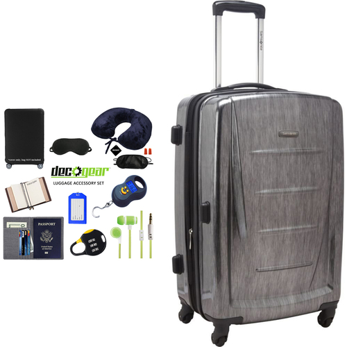 Samsonite Winfield 2 Fashion HS Spinner 24` Charcoal + Luggage Accessory Kit