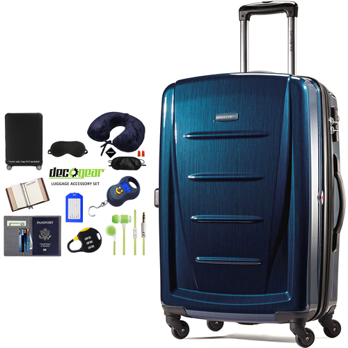 Samsonite Winfield 2 Fashion HS Spinner 24` Deep Blue + Luggage Accessory Kit