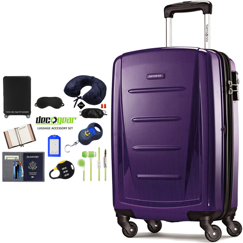 Samsonite Winfield 2 Fashion HS Spinner 28` Purple + Luggage Accessory Kit