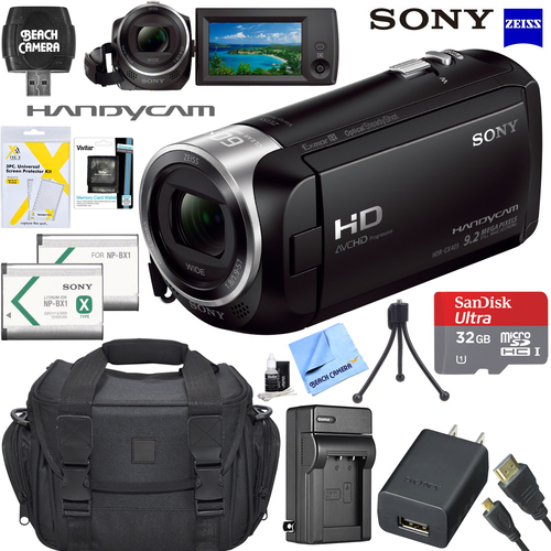 Sony HDR-CX405 HD Video Handycam Camcorder 32GB Memory Card 1600MAH Battery Bundle