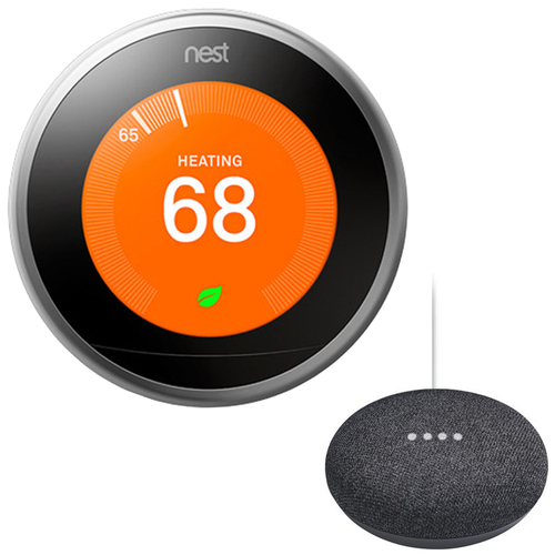 Google Nest Learning Thermostat 3rd Gen with Google Mini Home Smart Speaker, Charcoal