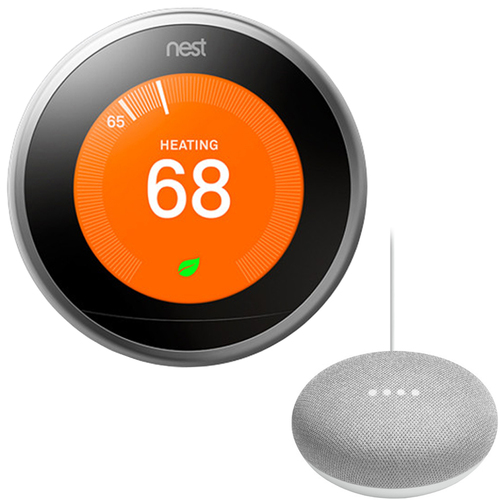 Google Nest Learning Thermostat 3rd Gen with Google Mini Home Smart Speaker, Chalk