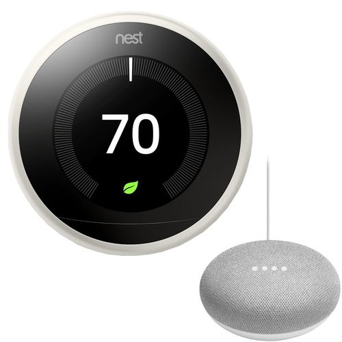 Google Nest T3017US Learning Thermostat 3rd Gen with Google Mini Home Smart Speaker, Chalk