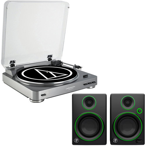 Audio-Technica AT-PL60USB USB Turntable + Mackie CR3 Monitors (Pair)