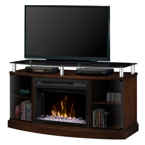 Dimplex Windham Electric Fireplace Media Console - With Glass - Mocha
