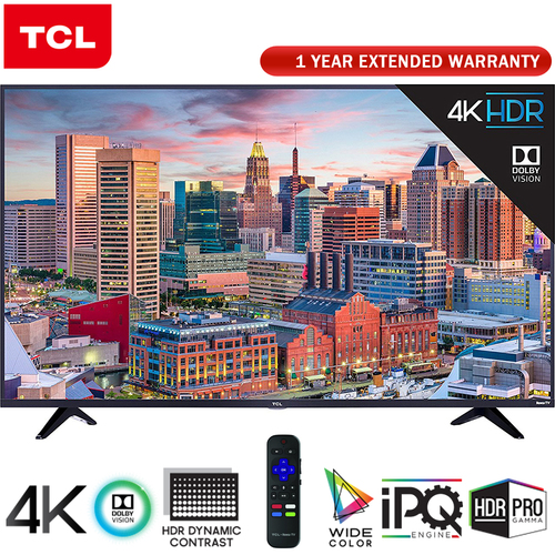 TCL 55` Class 5-Series 4K HDR Roku Smart TV 2018 Model + Extended Warranty