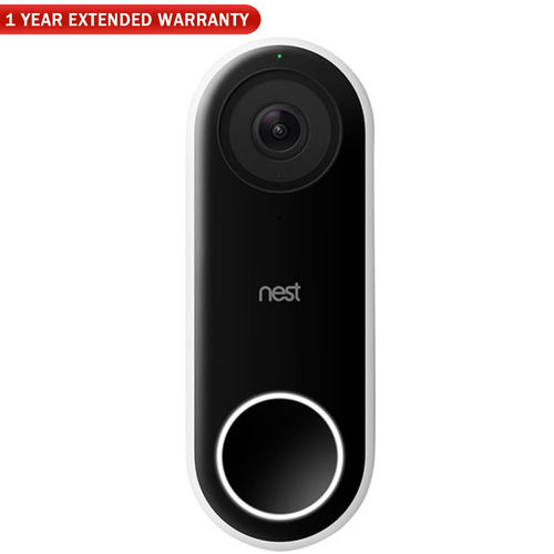 Google Nest Hello Smart Wi-Fi Video Doorbell (NC5100US) + 1 Year Extended Warranty