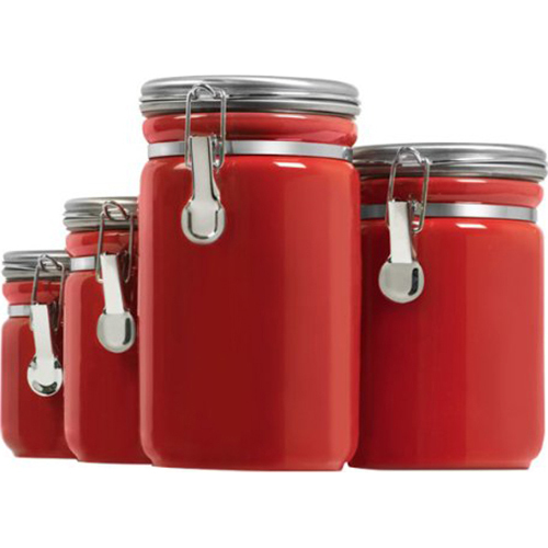 Anchor Hocking 4pc Red Ceramic Canister Set - Open Box
