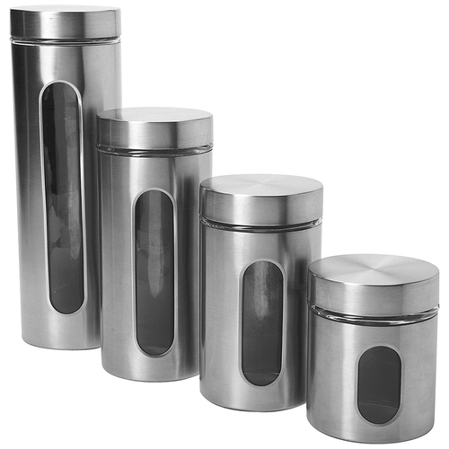 Anchor Hocking 4-Piece Palladian Brushed Stainless Steel Window Cylinder Set - 97564 - Open Box