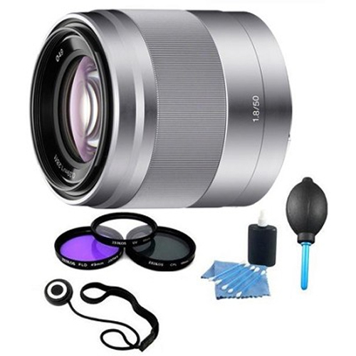 Sony SEL50F18 - 50mm f/1.8 Telephoto E-Mount Lens with Filters and More