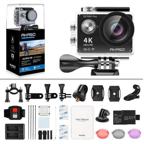 Akaso EK7000 Plus 4K 16MP WiFi Waterproof Action Camera | Adjustable View Angle | 30 M