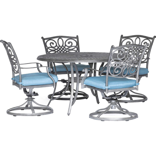 Hanover 4 Swivel Rockers 48 Round Cast Table - TRADDNG5PCSW4-BLU