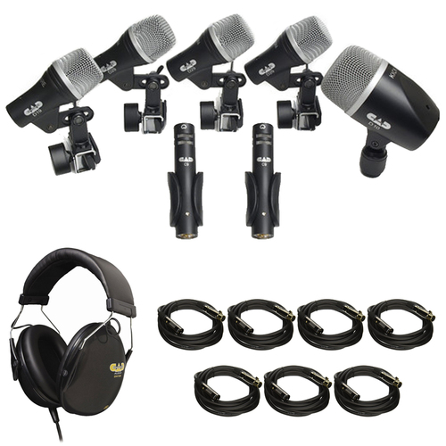 CAD Audio 7pc Drum Microphone Pack (3) D29, (2) C9, D19 & D10 + Headphone Bundle