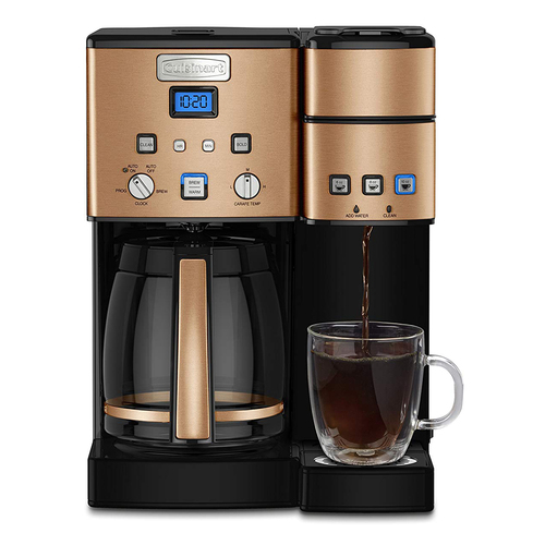 Cuisinart 12 Cup Coffeemaker and Single Serve Brewer w/ 3 Year Warranty | Copper (SS-15CP)