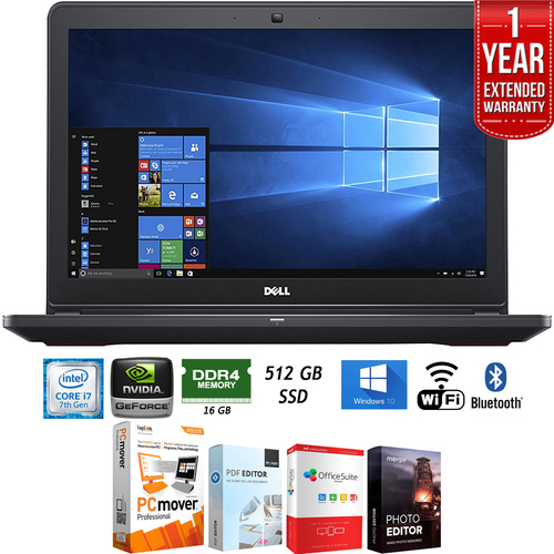 Dell i5577-7342BLK 15.6` Intel i7-7700HQ Gaming Notebook Laptop+Software+Warranty