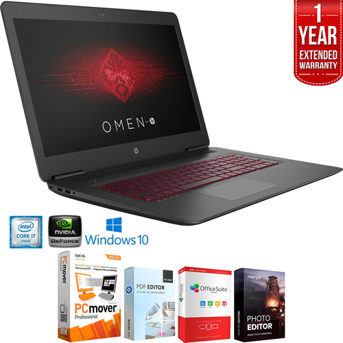 Hewlett Packard 17-W210nr OMEN 17` Intel i7-7700HQ Gaming Laptop+Software+Warranty Bundle