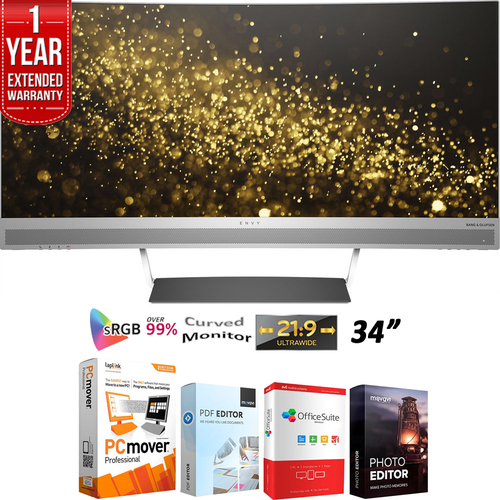 Hewlett Packard Envy 34 Curved Display 34 inch LED-Lit Monitor +1 Year Extended Warranty Pack