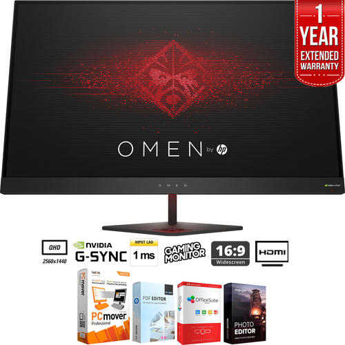 Hewlett Packard Omen 27` QHD 165Hz 1ms NVIDIA G-SYNC Gaming Monitor + Extended Warranty Pack