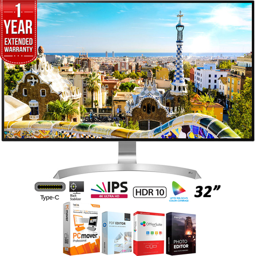 LG 32` 4K HDR 10 FreeSynch IPS Monitor 16:9 + 1 Year Extended Warranty Pack