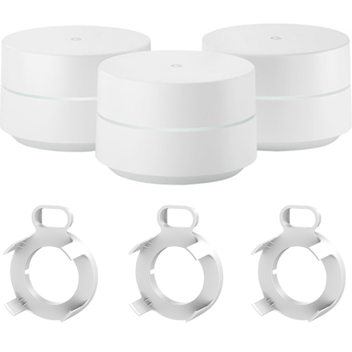 Google Wi-Fi System Mesh Router (GA00158-US) 3-pack + Deco Gear WiFi Outlet Wall Mount