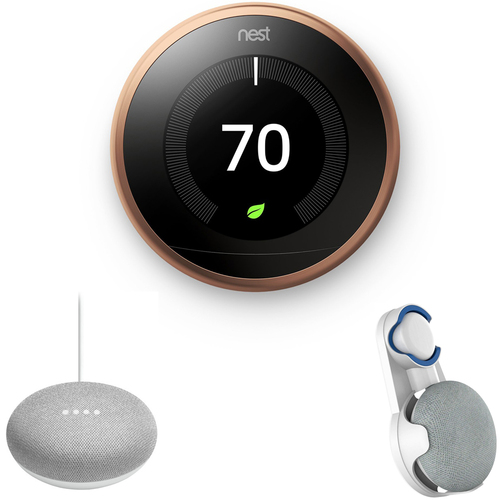 Google Nest Learning Thermostat 3rd Gen Copper with Chalk Google Home Mini & Wall Mount