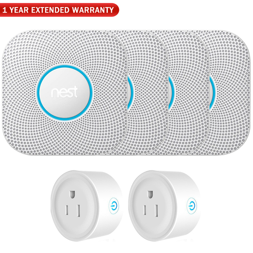 Google Nest Protect Wired Smoke and Carbon Monoxide Alarm (4-Pack) w/ Warranty Bundle