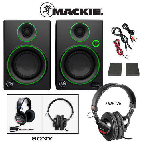 Mackie CR3 Monitors Speakers (Pair) + Sony MDR-V6 Headphones