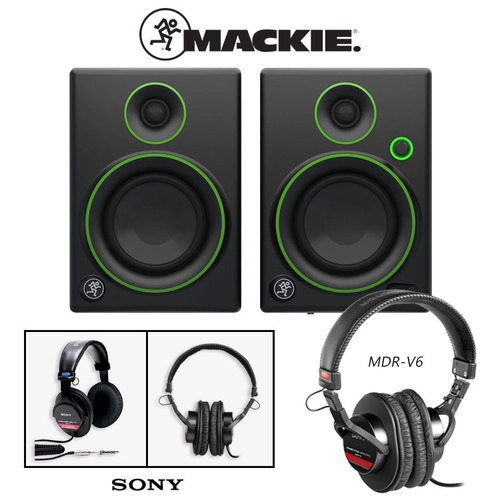 Mackie CR4 Creative Reference Multimedia Monitor (Pair) w/ Sony MDR-V6 Headphones