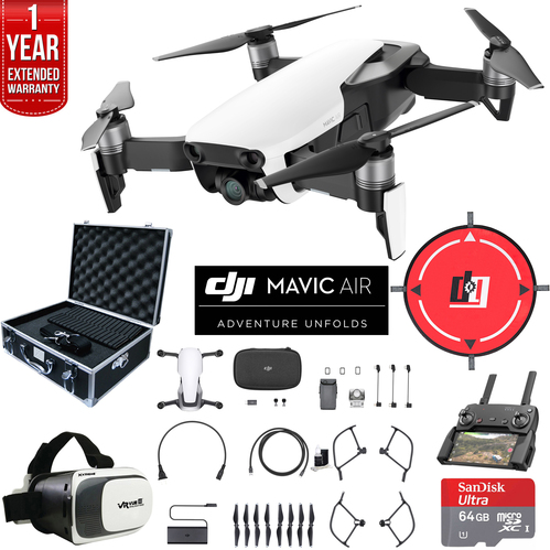 DJI Mavic Air Arctic White Drone Deluxe Fly Bundle Case VR Set & Warranty Extension
