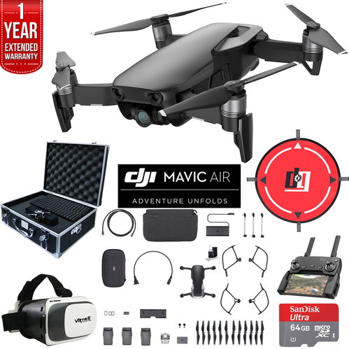DJI Mavic Air Fly More Combo Onyx Black Drone Deluxe Fly Bundle & Warranty Extension