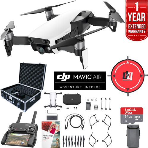 DJI Mavic Air Arctic White Drone Extended Fly Kit Case Batteries Extended Warranty