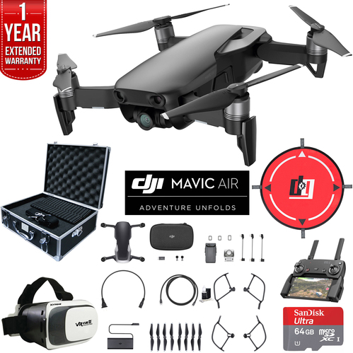 DJI Mavic Air Onyx Black Drone Deluxe Fly Bundle Case VR Set & Warranty Extension