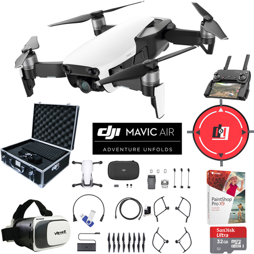 DJI Mavic Air Arctic White Drone Pro Photo Edit Kit Case VR Goggles Landing Pad 32GB