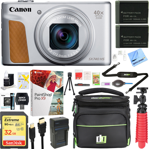 Canon PowerShot SX740 HS 20.3MP Digital Camera (Silver) +Spare Battery & Accessory Kit