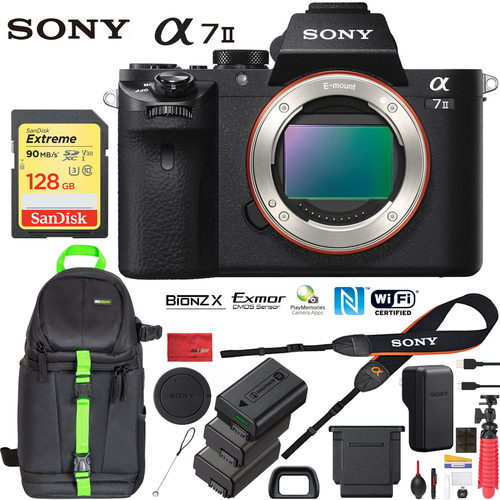 Sony Alpha a7 II Mirrorless Camera Body 24.3MP & 128GB Memory Extra 2x Battery Bundle