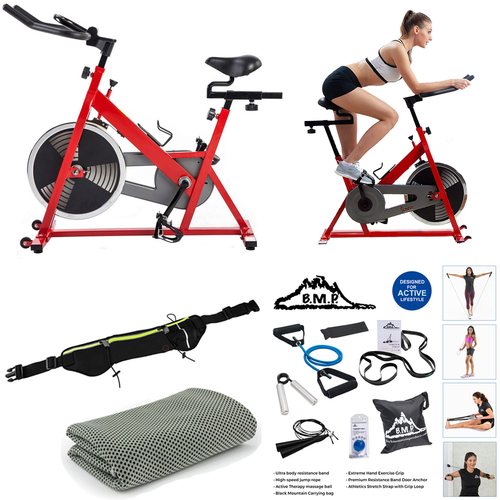 Sunny Health and Fitness Chain Drive Indoor Cycling Bike - Red - (SF-B1001) Bundle