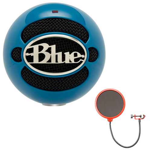 BLUE MICROPHONES Snowball USB Microphone w/ Pop Shield Wind Screen