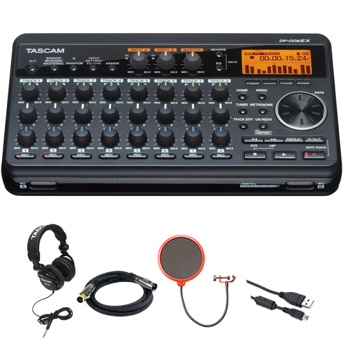 Tascam Compact Portastudio 8 Track Digital Recorder w/Built In Mic + 32GB Bundle