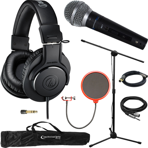 Audio-Technica M20x Professional Monitor Headphones ATH-M20X & Technical Pro Microphone Bundle