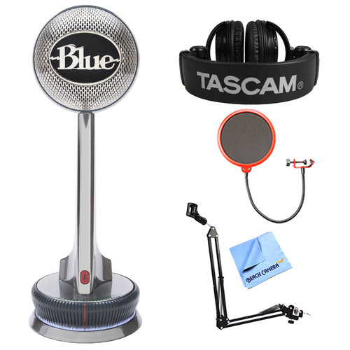 BLUE MICROPHONES Nessie Adaptive USB Microphone w/ Tascam Headphone Bundle