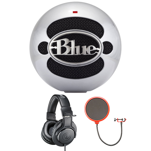 BLUE MICROPHONES Snowball USB Microphone Aluminum w/ Headphone Bundle