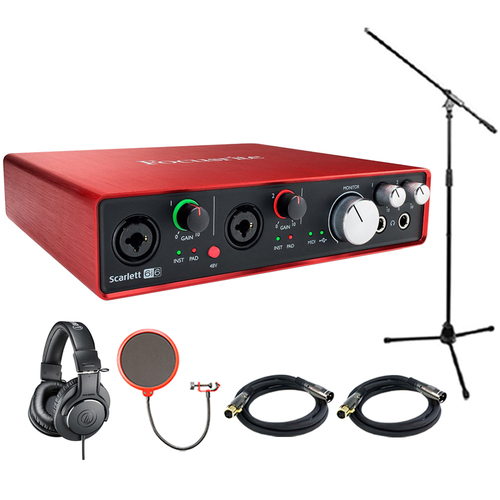 Focusrite Scarlett 6i6 USB Audio Interface (2nd Gen) w/ Headphone Bundle