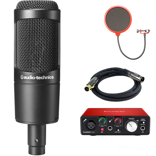 Audio-Technica Cardioid Condenser Microphone AT2035 with Interface Bundle